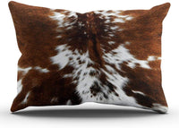 Acelive 12 x 18 Inches Brown and White Cowhide Art Print Lumbar Pillow Cushions Case Throw Pillow Cover for Sofa Home Decorative Pillowslip Gift Ideas Household Pillowcase Zippered Pillow Covers