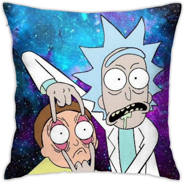 Rick & Morty Hold Pillow Covers Cases Double-Sided Printed Pillow Case Car Cushion with Hidden Zipper for Couch Bed Sofa Home Interior Decoration