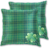 Qilmy St. Patrick's Day Throw Pillow Covers Irish Classial Green Plaid Shamrock Clover Leaves Cushion Cover Square Pillowcases for Car Sofa Bed Couch 2 Pack 18x18 inch