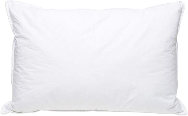 White Goose Down Bed Pillow – Pillows 50% Down, 100% Cotton Cover, Soft Support, Stomach and Back Sleepers