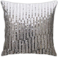 ANDY SHAN Bling Endless Silver Sequin Print Pillow Covers,Soft Microfiber Durable Sturdy Decorative Pillowcase W/Hidden Zipper for Sofa Bed Car Decoration