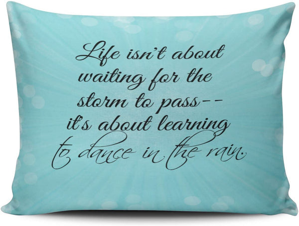 Salleing Custom Plain Unique Aqua Mint Turquoise Life isn't About Waiting for the Staim to Pass Decorative Pillowcase Pillowslip Throw Pillow Case Cover Zippered One Side Printed 12x16 Inches