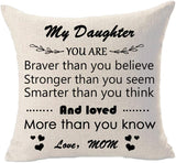 to My Son Wherever Your Journey in Life Enjoy The Ride I¡m Always Here for You Love Mom Cotton Linen Throw Pillowcase Couch Pillow Cover Rectangle 12x20 inch Decorative Pillow for Family Birthday