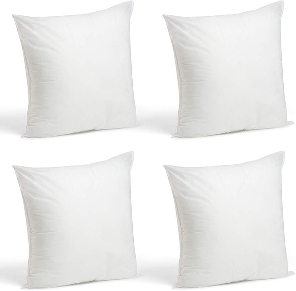 "Foamily Set of 4-18 x 18 Premium Hypoallergenic Stuffer Pillow Inserts Sham Square Form Polyester, 18"" L X 18"" W, Standard/White"