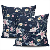 Healbrighting Tropical Pink Floral Botanical on Navy Blue Pillow Covers Square Home Decorative Pillowcase 16 x 16 Inch Throw Pillow Cases Double Sides Pattern