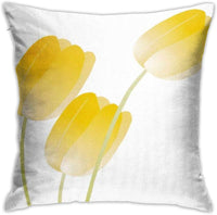 SXboxing Decorative Throw Pillow Covers 18x18 Inches,Christmas Square Throw Pillow Cases for Sofa Bedroom Car Easter Yellow Spring Tulips Girly