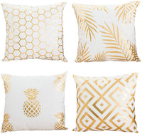 "AngJi Gold Foil Print Throw Pillow Covers Modern Decorative Soft Cushion Covers for Bedroom, Living Room, Couch, 18"" x 18"" Inch, 4 Pack (Pineapple Geometry)"