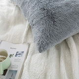 LIFEREVO 2 Pack Shaggy Plush Faux Fur Pillow Shams Fluffy Decorative Pillowcases Zipper Closure (Standard Queen Gray)