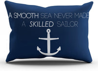 SALLEING Modern Beauty Navy Nautical Anchor Quotes a Smooth Sea Never Made a Skilled Sailor One Side Decorative Pillowcase King Zippered Throw Pillow Case Cushion Cover 20x36 inches