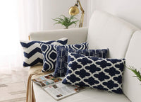 FanHomcy Navy Blue Lumbar Throw Pillow Covers, 4 Pack, Decorative Bed Sofa Couch Cushion Pillowcases,12 x 20 inches,Geometric Quatrefoil Arrow Ogee Chevron Patterns
