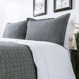 Elegant Life Cotton Chambray Cross Pic-Stitch Standard Pillow Sham, 20'' x 26'' + 1.75'' Flange, Gray Color