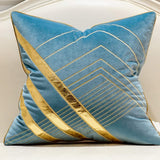Avigers 18 x 18 Inches Light Blue Gold Leather Striped Embroidered Cushion Cases Luxury European Throw Pillow Covers Decorative Pillows for Couch Living Room Bedroom Car 45 x 45cm