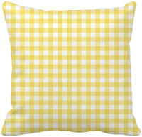 Awowee Throw Pillow Cover Pattern Pastel Yellow Gingham That is White Pale Retro 18x18 Inches Pillowcase Home Decorative Square Pillow Case Cushion Cover