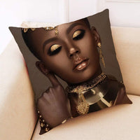 Fashion Black Pillowcase Glamour African Women Pattern Art Pillow Cover Throw Pillows Cushion for Sofa Living Room