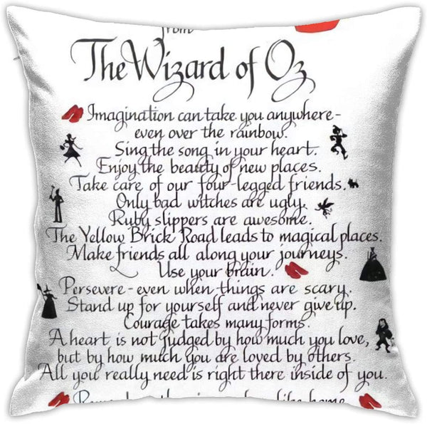 Simple Decorative Pillow Covers, Cushion Cover18x18 Inches, Invisible Zip All-i-Need-to-Know-i-Learned-from-The-Wizard-of-oz