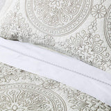 Elegant Life 100% Cotton Medallion Embroidered King Pillow Sham 20'' x 36'', Ivory