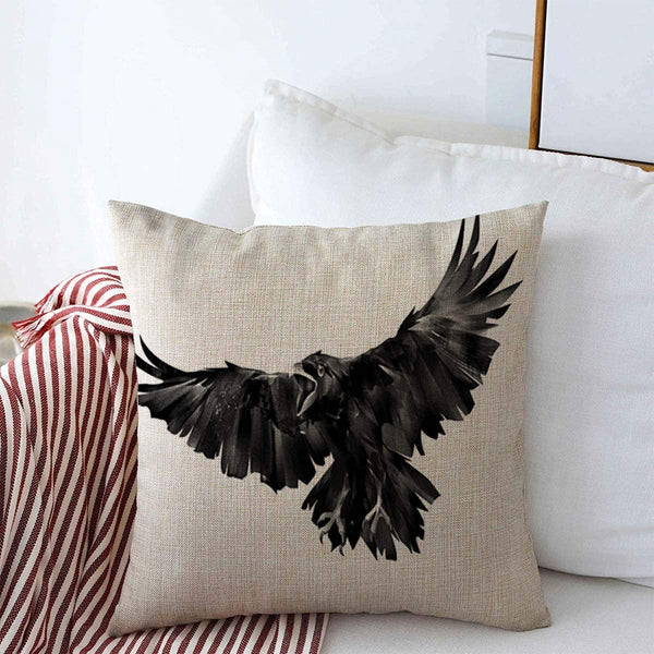 "Throw Pillow Case Beak Ink Flying Bird Raven On White Flight Crow Paint Abstract Attack Design Death Farmhouse Decorative Square Covers 16""x16"" for Home Sofa Couch Decor"