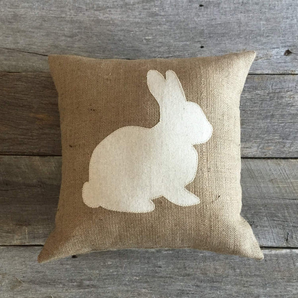 Flowershave357 Burlap Rabbit Pillow Cover ONLY Cotton Muslin Pillow Easter Pillow Front Porch PillowFront PorchBunny Pillow Burlap Pillow