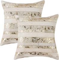 Set of 2, Natural Torino Madrid Handcrafted Soft Touch Natural Cowhide Pillow with Polyfil Insert and Zipper Closure, Natural & Gold, 18 in x 18 in