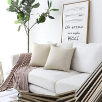 Home Brilliant Burlap Decorative Throw Pillow Euro Sham Pillowcase Cushion Cover for Couch Outdoor Patio, 26x26(66cm), Light Linen