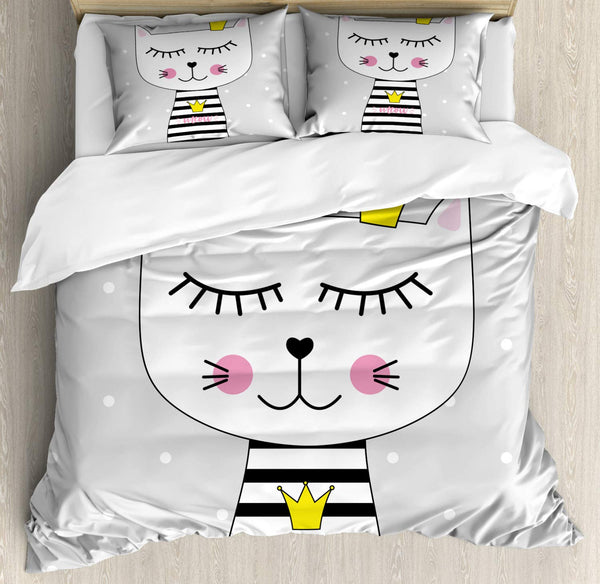 Cat Duvet Cover Set Princess Kitten with Meow Text on Shirt and a Crown Decorative 3 Piece Bedding Set with 2 Pillow Shams King
