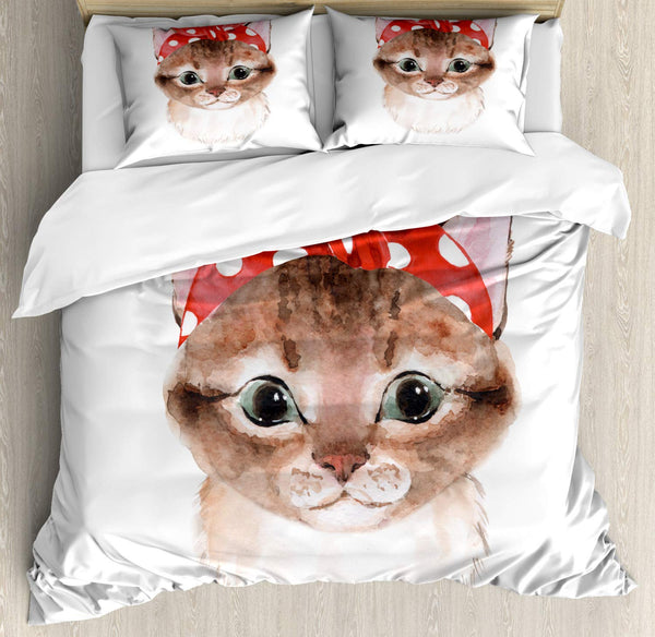 Cat Duvet Cover Set Watercolor Illustration of a Funny Kitten with a Bandana Decorative 3 Piece Bedding Set with 2 Pillow Shams