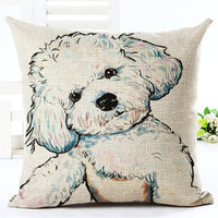 coxeer Lovely Throw Pillow Cover Cartoon Dog Printed Cushion Cover Linen Cotton Pillow Sham 45x45cm For Sofa Decor Cojines New