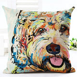 coxeer Cute Cartton Pillow Cover Funny Dog Printed Cushion Cover Linen Cotton Square Pillow Cover Pillow Sham Home Decor Coussin
