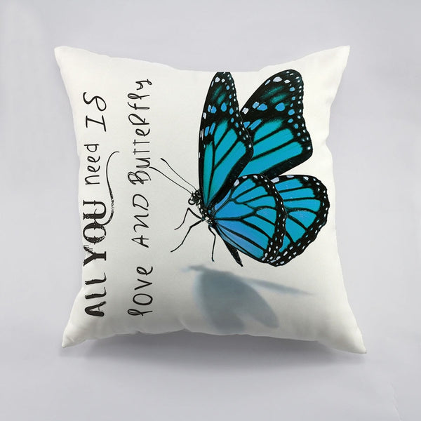 Green Blue Butterfly Design Printed  Cushion Cover High Quality Throw Pillows Case For Sofa Decorative Car Home Pillow Sham