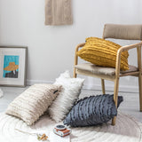 Yellow Beige White Tassels Cushion Cover Home Decoration 50X50CM cotton Jacquard Pillow Cover For Sofa Pillowcase Pillow Sham