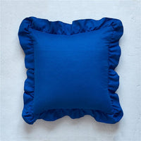 Bed Textile Pillowcase Bedding Cotton Solid Ruffle Pillow Sham Princess Elegant European Sofa Pillow Cover Protector 45*45cm