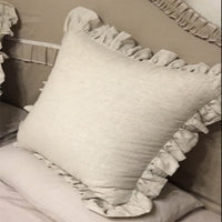 Natural Ruffled Washed Linen Pillow Cover Sofa Chair Cushion Covers Decorative Throw Pillows Euro Sham