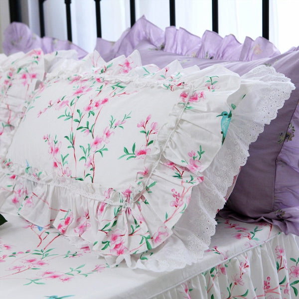 2pcs luxury pillow case Embroidery double ruffle lace pillowcase Satin cotton pillow cover home bedding pillow cases pillow sham