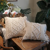 Macrame Hand-woven Pillowcase Sofa Car Cushion Cover Cotton Thread Linen Pillow Cover Geometry Bohemian Home Decoration