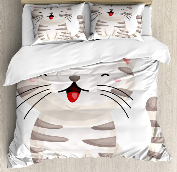 Cat Duvet Cover Set Cartoon of a Happy Kitten with Stripes and Long Whiskers Decorative 3 Piece Bedding Set with 2 Pillow Shams
