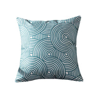 Blue Embroidered Cushion Cover Geometric Turquoise Decorative Pillow Case for Home Room Sofa Car Seat Decoration Supplies