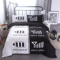 Queen Size Microfiber Duvet Cover Set Black White Romantic Design Decorative 3 Piece Bedding Set with 2 Pillow Shams