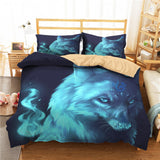 3D Animals Print Wolf Quilt Cover with Pillow Sham Kid Room Decor Bed Cover Single Double Boy Teen Home Bedding Sets Microfiber