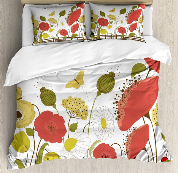 Floral Duvet Cover Set Spring Flowers and Butterflies Behind a Fence Decorative 3 Piece Bedding Set with 2 Pillow Shams King