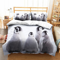 Penguin White Quilt Cover Cartoon Animals Bed  Cover with Pillow Sham Kids Room Decor Microfiber Bedding Sets 2/3Pcs Custom