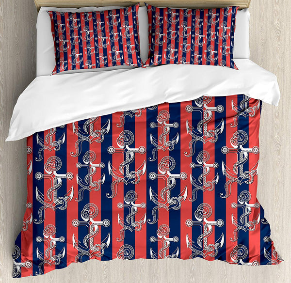 Anchor Duvet Cover Set Vertical Stripes with Harbor Seaport Marine Life Decorative 3 Piece Bedding Set with 2 Pillow Shams