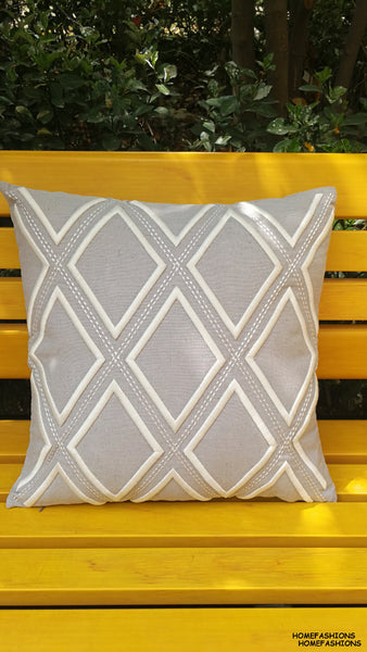 Geometric embroidery cushion cover /white and grey emboridery pillow cover/decorative throw cushion sham wholesale 45x45cm