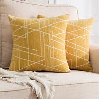Decorative Throw Pillow Covers Woven Textured Chenille Cozy Modern Concise Soft Irregular Line Pattern Square Cushion Shams