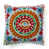2 PC Decorative Uzbek Suzani Cushion Cover Embroidered Pillow Vintage Chair Pad