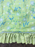 (2) Custom-Daisy/Floral Print Shams-Standard/Queen-Green/Blue/Yellow-Ruffled-