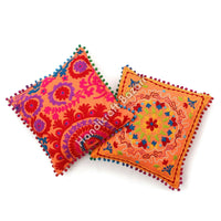 Home Decor Tradtional Pillow Cases 2 Pcs Indian Embroidery Suzani Cushion Cover