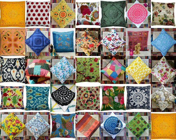 10 Assorted Wholesale Lot Handmade Kantha Cotton Decor Pillow Cushion Cover 16""