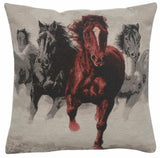 Wild Horses III Jacquard Woven Accent Throw Pillow Cushion Cover Home Decor Art