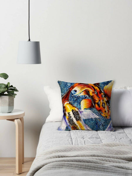 Koi Fish Decorative Pillow Covers Yin Yang Harmony Throw Cushion Case