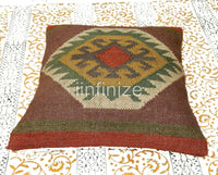 Decorative 2 PC Cushion Cover Wool Jute Cushion Cover Handwoven Rustic Pillow's